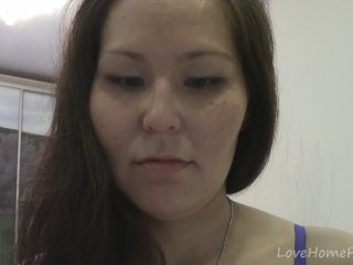 Brown-haired housewife shows stay away from her nude body