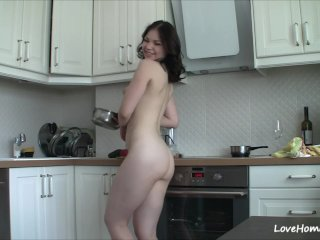 Getting nude in the kitchen makes the brush happy!