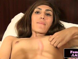 Sensual slender femboy queen masturbating