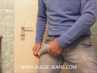 Showing Big Bulge Jeans And Jerking Off