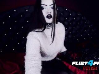 Blue Gothic Babe Fucks Herself around Latex BDSM