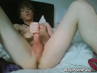 Emo twink wanking his big cock on cam