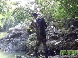 Army boys scout for hard corporeality outdoors