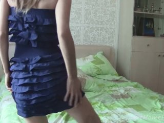 Hot Blonde With Big Tits Strips And Masturbates