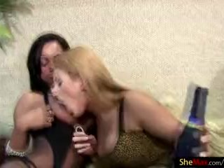 Long hair t-babes in underthings show massive asses in foursome