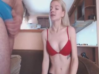 Blonde Teen Babe Gets a Mouthful of Cum