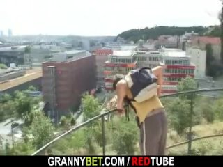 Grandma rides his hard corporeality