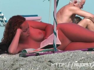 Short haired highly priced filmed above a nudist beach