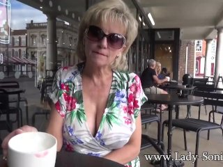 UK MILF Sonia shows her tits in public