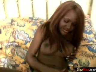 Black t-babe sucks white dick in POV