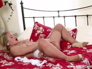Blonde Milf Olga Cabaeva strips retro lingerie vintage nylons masturbates