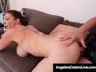 Curvy Lezbo Couple Angelina Castro & Sara Jay Strap On Fuck!