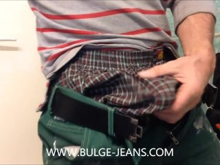 Worker Show Bulge And Jerking Off