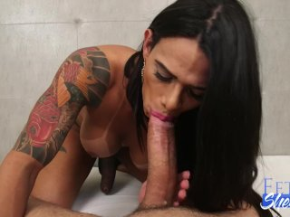 Shemale Rosey Shows off Amazing Blowjob Skills