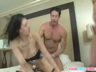 Amateur Black Haired Whore With Tattoos In Gangbang Action