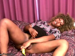 Black shemale toys her tight ass with banana