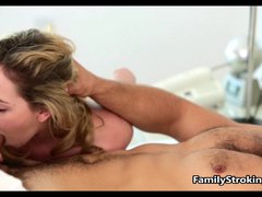 Sister Wakes Up Step Brother with a Blow Job