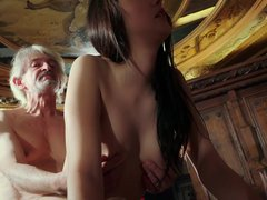 Young daughter tempting grandpa with young pussy sex