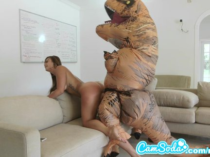 huge booty latina woman chased by lesbian loving trex on hoverboard then nailed