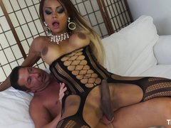 TransBella - Hot tranny Veronika Havenn gets fucked doggy style - Italian
