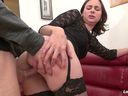 French brunette delights in hardcore pussy and ass bang