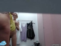 sneaky hidden cam catches teen lesbian with big booty trying on clothes