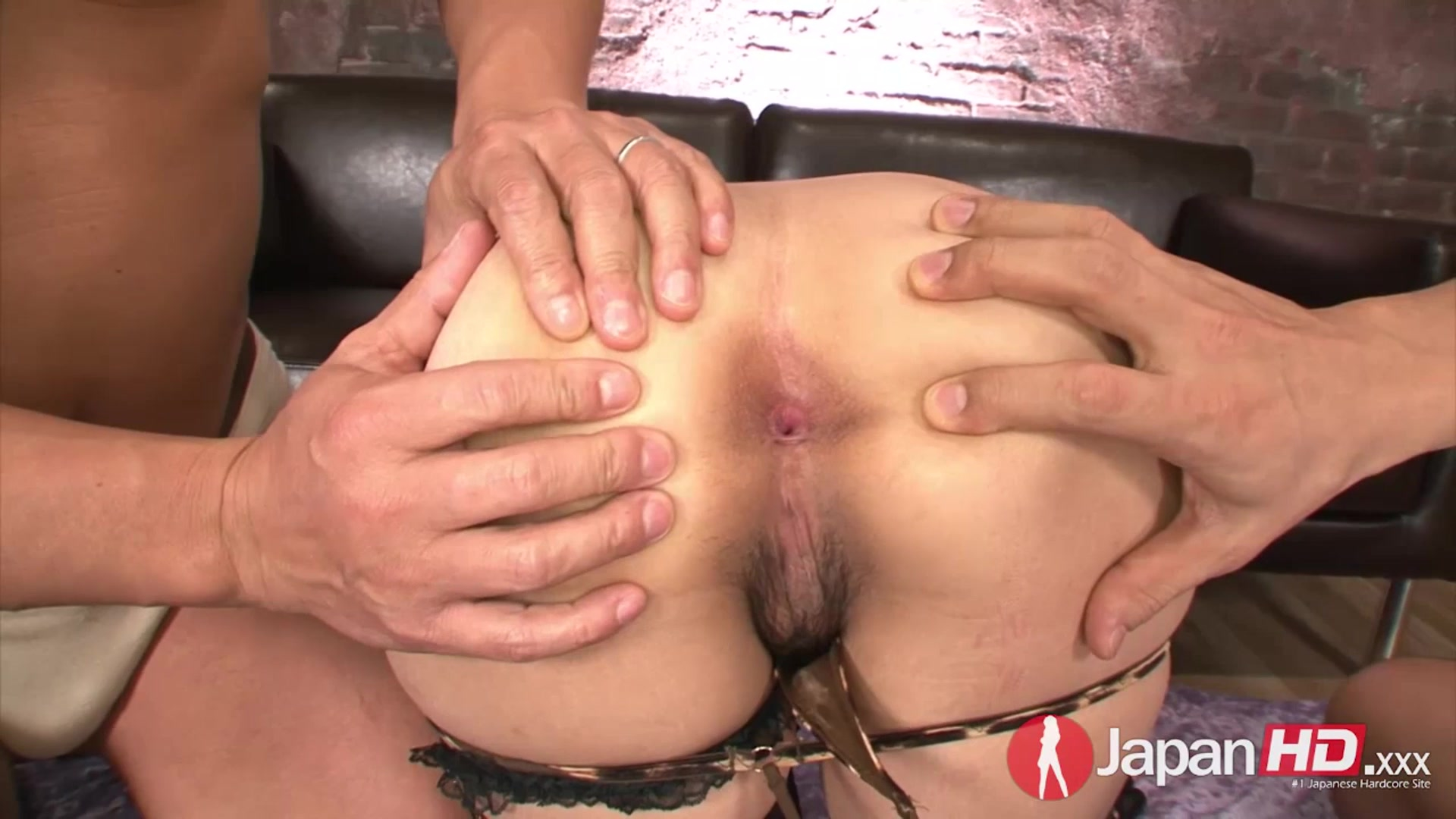 Double creampie for petite Japanese Milf