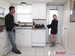 Stepdad teaches teen slut manners