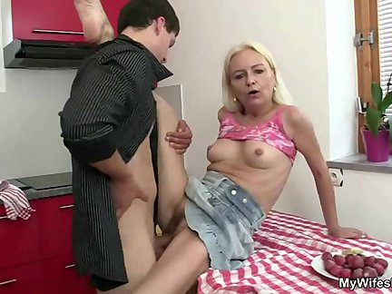 cheating sex at kitchen with mom in law