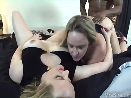 two blonde pawgs share a monster black dick