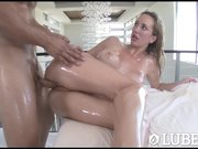 LUBED - Oiled up busty Brett R