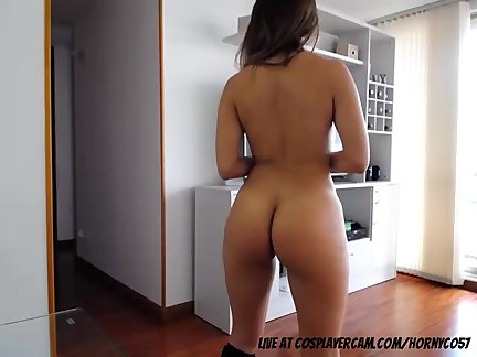 Stunning latina stripping on the balcony